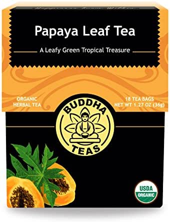 Organic Papaya Leaf Tea – 18 Bleach-Free Tea Bags – Caffeine-Free, Aids Digestion, Good Source of Vitamins, Chemical-Free, and GMO-Free Herbal Tea, Kosher