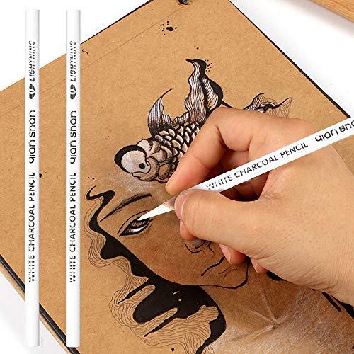 2 Pcs White Sketch Charcoal Pencils