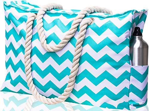 Beach Bag XXL. 100% Waterproof (IP64). L22 xH15 xW6 w Cotton Rope Handles, Top Zipper, Extra Outside Pocket. Turquoise Chevron Shoulder Beach Tote has Phone Case, Built-in Key Holder, Bottle Opener