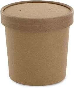 Eco Friendly Kraft Soup Bowls | Kraft Disposable Food Cups with Lids | Brown Container - Soup Cups Great for Restaurants, Take-Outs, Or Disposable Soup Bowls To Go Lunch (25/Pack) (Kraft, 12 oz)