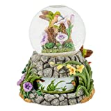 Hummingbirds with Flowers 100mm Resin Water Globe Plays Tune You Light Up My Life