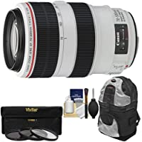 Canon EF 70-300mm f/4-5.6 L IS USM Zoom Lens with Backpack Case + 3 UV/ND8/CPL Filters + Cleaning Kit for EOS 6D, 70D, 5D Mark II III, Rebel T3, T3i, T4i, T5, T5i, SL1 DSLR Cameras