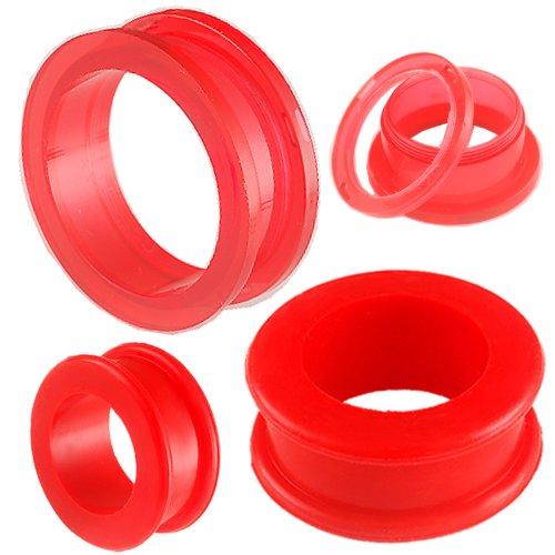ear elargisseur lobe flesh plug tunnel acrylique écarteur 30mm bijouterie piercing rouge 2 Paires FFPO