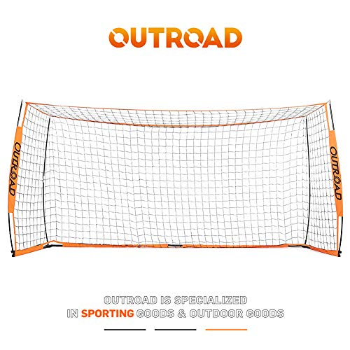 Outroad Portable 12x6 Soccer Goal for Backyard, Metal Basic Soccer Net for Practice, Goal Post for Soccer w/Carry Bag,(Orange)