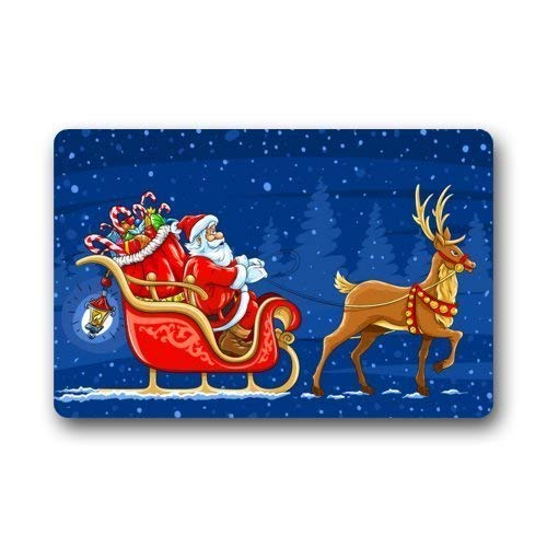 Season's Greetings Santa Happy Holiday Machine-wahable Non-Woven Doormat Indoor/Outdoor