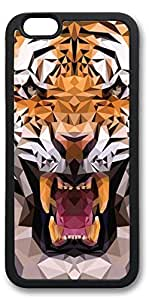 iPhone 6 Cases, Personalized Custom Soft TPU Black Edge Case Cover for New iPhone 6 4.7 inch Tiger 3D