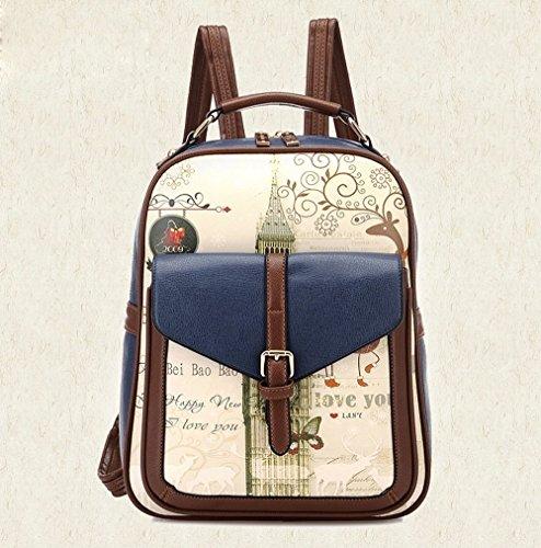School Korea Catkit Printed Graffiti Blue Shoulder Bag Womens Handbag Tote Backpack rUnrBqx