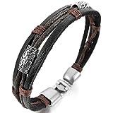INBLUE Men,Womens Alloy Genuine Leather Bracelet Bangle Rope Black Silver Tone Brown Tribal