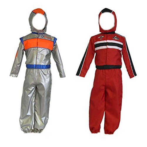 [Boys Kids Childrens Astronaut Racing Driver 2in1 Reversible Fancy Dress Costume 3-5 Years by DUBD] (Childs Racing Driver Costume)