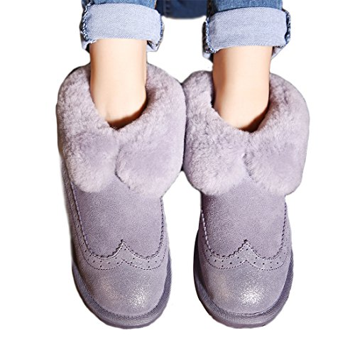 Suede Boots Purple Leather Skidproof Boots TITAN Lined Shearling Winter Ankle BULL Womens Snow RESqwF6