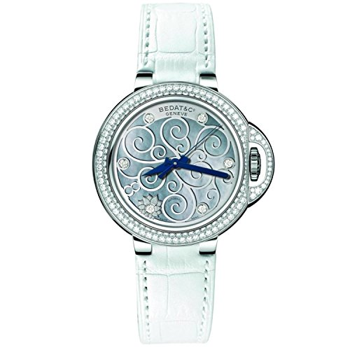 Bedat & Co Women's No.8 Diamond 36.5mm White Leather Band Steel Case Automatic MOP Dial Watch 828.040.M04