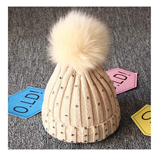 MingDe Sports Rhinestone Baby Girl Hat Winter Newborn Girl Knitted Hats Beanie Fur Pom Pom Hat Children Cap Girls Hats Caps Khaki