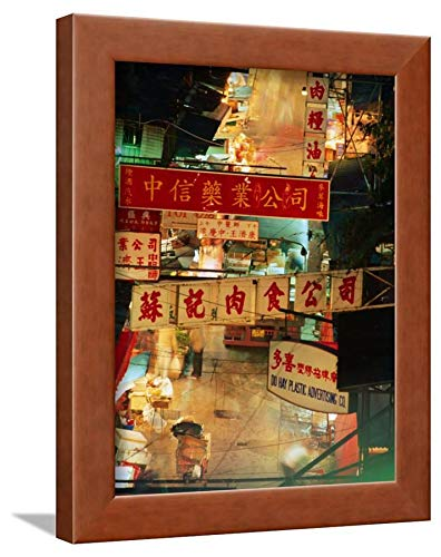 ArtEdge Chinese Banners Hanging at Wet Market, Central, Hong Kong, China by Ray Laskowitz, Brown Framed Wall Art Print, (Market Central Hong Kong China)
