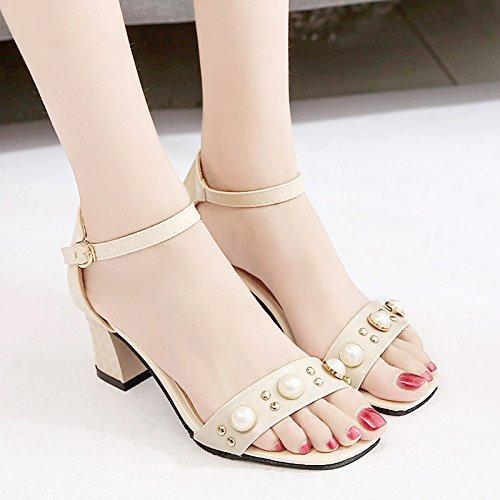 Moda Mujer verano sandalias confortables tacones altos,40 negro Beige