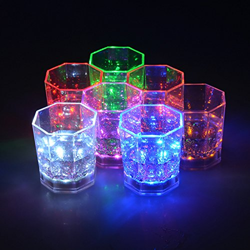 Glow In The Dark Drinking Glasses (I-Fashion Flashing Light Up Wine Glasses with LED Glowing Lights Wine/Beer Cup for Nightclub Bar Birthday Party KTV Christmas 7 Colors 170ML)