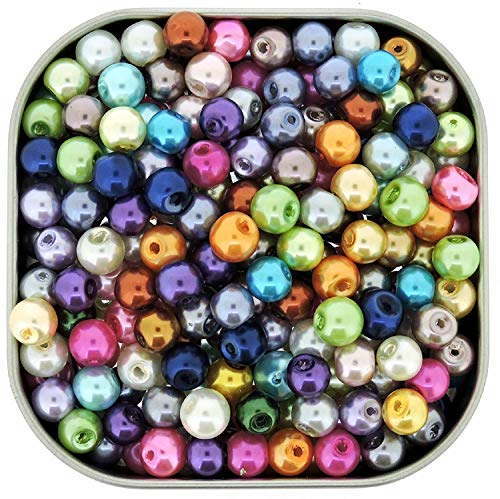 100pcs Mix Luster Glass Pearls Round ()