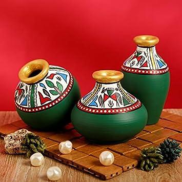 Buy Craftbell Terracotta Table Pots Warli Handpainted Miniature