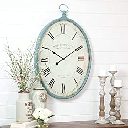 Blue Grey Oval Wall Clock Rustic Farmhouse Theme Distressed Pattern White Frame for Office Roman Numerals Barn Themed Living Area Bedroom, Metal