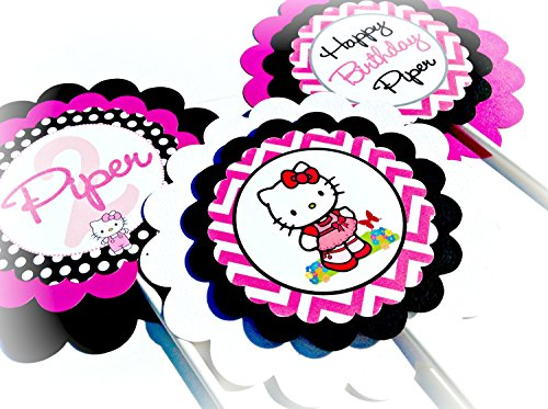 3 - Centerpieces or Cake Toppers - Hello Kitty Inspired Happy Birthday Collection - Hot Pink Chevron, Black Polka Dots & Purple and White Accents - Party Packs Available -