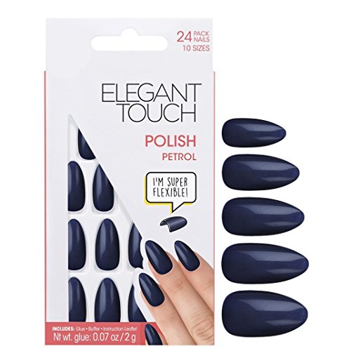 Elegant Touch Polished Nails - Petrol (Coffin Shaped)