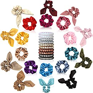 30 Pcs Hair Scrunchies – 10pcs Velvet Scrunchies for Hair, 10pcs Satin Scrunchies with Bow, 10pcs Spiral Coil Hair Ties, Good Idea for Any Occasions, Daily Wear, Parties, Sports & Bath for Girls Women