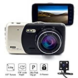 "Sunsome Full HD 1080P Dash Cam 4"" LCD 170° Wide Angle Dashboard Camera with SONY Sensor,Dual Lens Front+Rear Car DVR with HDR Night Vision,Loop Recording,Parking Mode,G-Sensor,Capacity up to 64GB"