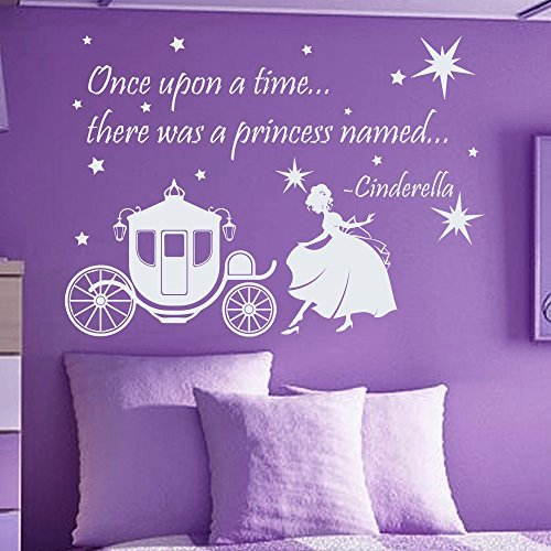 Wall Decals Quotes Cinderella Once Upon A Time There Was A Princess Named Quote Vinyl Sticker Nursery Room Bedroom Decal Baby Girl Home Decor Art Murals MR360