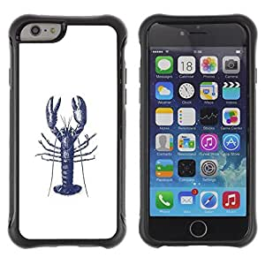 KROKK CASE Apple Iphone 6 PLUS 5.5 - lobster ink tattoo white blue art - Rugged Armor Slim Protection Case Cover Shell