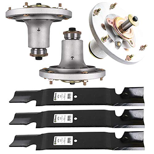 8TEN Deck Spindle Notched Hi-Lift Blade Kit Set Combo 61'' for Grasshopper 9861 Mower Replaces 623763 623782