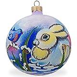 BestPysanky 4'' Bunny Rabbit and Bird, Animal Glass Ball Christmas Ornament