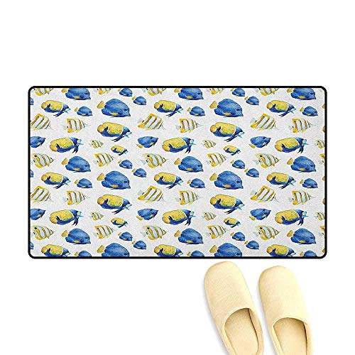 zojihouse Fish Customize Bath Mat with Non Slip Backing Group of Flat Bodies Exotic Oceans Vibrant Color Patterns Abstract Illustration Size:16