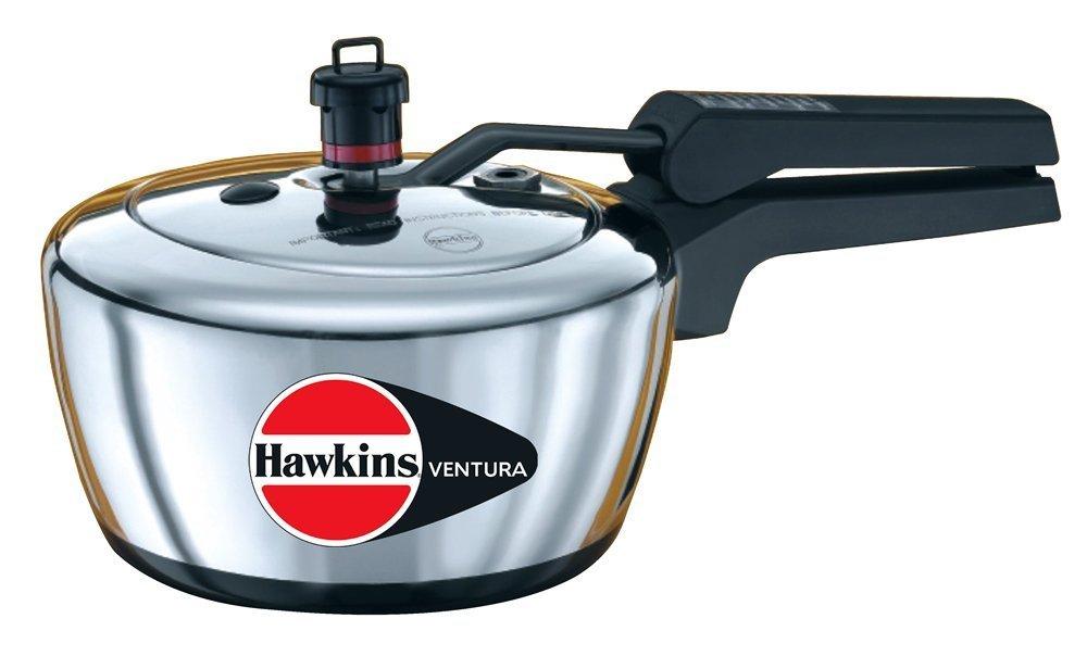 Hawkins V10 Ventura Hard Anodised Black Base Pressure Cooker, 2.0-Litre, Silver