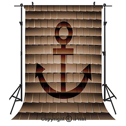 Anchor Decor Photography Backdrops,Digital Made Nautical Anchor on Square Marine Life Theme Modern Home Artwork Print,Birthday Party Seamless Photo Studio Booth Background Banner 6x9ft,Tortilla Brown