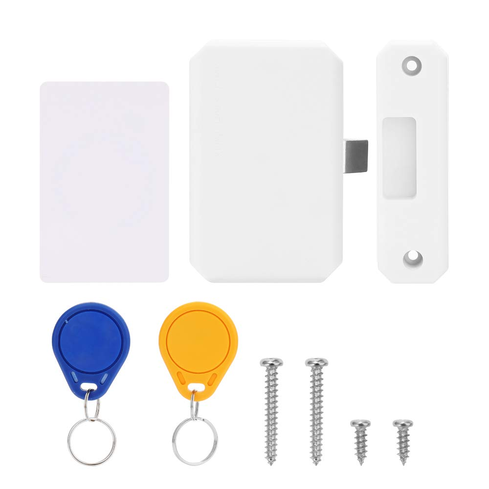 Schrank Lock,Intelligentes Elektronischer Sensor Schubladenschloss mit 1 Card+2 Lock Catch,Kein Bohren,Schrankschloss Intelligente