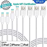 Original Accessories Certified Charging Cables. Replacement for Apple Lightning Cable in Pack 4pc. (3ft - 2pc; 6ft -1pc; 10ft - 1pc) Fast Charging Cable