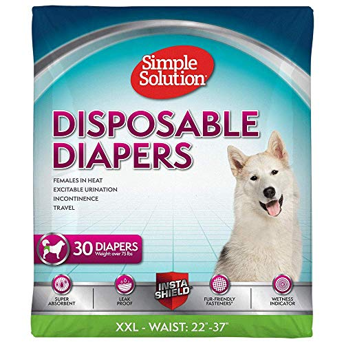 Simple Solution True Fit Disposable Dog Diapers for Female Dogs | Super Absorbent with Wetness Indicator | XXL | 30 Count ()