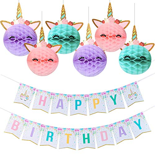 Unicorn Party Decoration, Unicorn Happy Birthday Banner with Honeycomb Balls for Girls Birthday Party Supplies -Golden Glitter Design