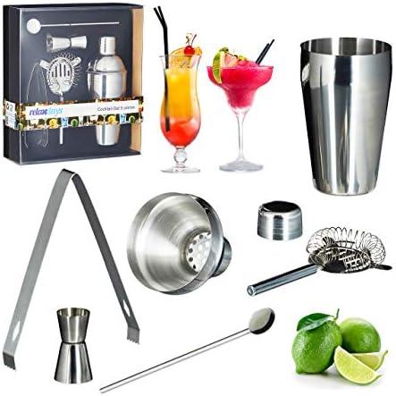 Relaxdays Cocktailset 5-teilig, rostfreier Edelstahl, Shaker, Sieb, Barlöffel, Zange, Cocktail Shaker, Barmaß, silber