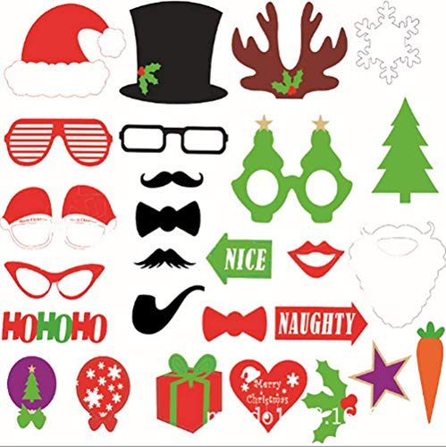 50pcs Christmas Photo Booth Props Funny DIY Foto Booth Dress-up Accessories for Party Decoration Supplies -