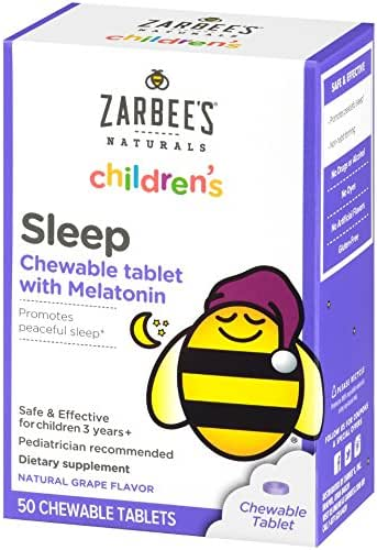 Zarbee's Naturals Children's Sleep Chewable Tablet with Melatonin, Natural Grape Flavor, 50 Chewable Tablets