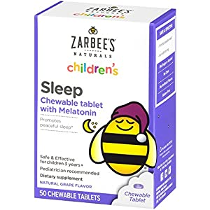 Zarbees Naturals Childrens Sleep Chewable Tablet with Melatonin, Natural Grape Flavor, 50 Chewable Tablets