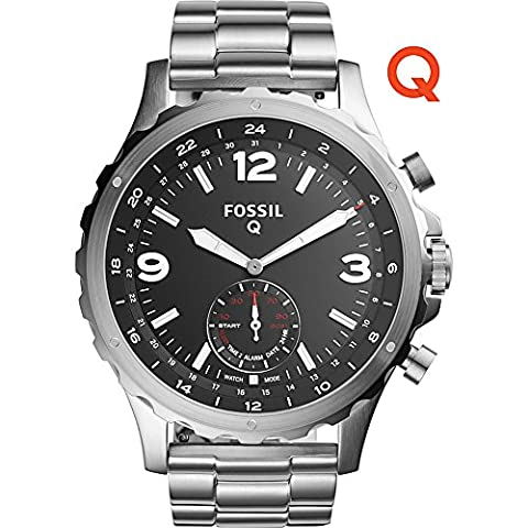 Fossil Q Nate Stainless Steel Hybrid Smartwatch (Silver) (Fossil Watchs Nate)