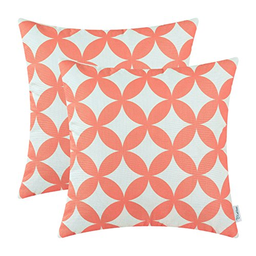 Pack of 2 CaliTime Soft Canvas Throw Pillow Covers Cases for Couch Sofa Home Decor, Modern Circles Rings Chain Geometric, 18 X 18 Inches, Coral Pink (Printed Coral)