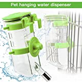 Dogs Crate Water Bottle Dispenser-Best Collapsible Water Automatic Water Drinking Feeder Stainless Steel Ball Heavy Duty Lazy Animals Kitten Guinea Pig Crate Cage Kennel (Green,350ML)