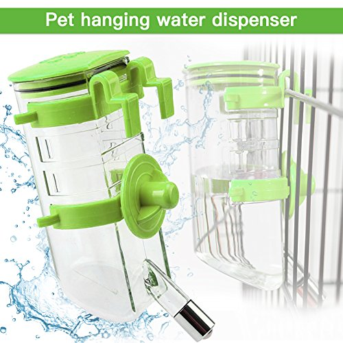 Dogs Crate Water Bottle Dispenser-Best Collapsible Water Automatic Water Drinking Feeder Stainless Steel Ball Heavy Duty Lazy Animals Kitten Guinea Pig Crate Cage Kennel (Green,350ML) by Yitour (Image #1)