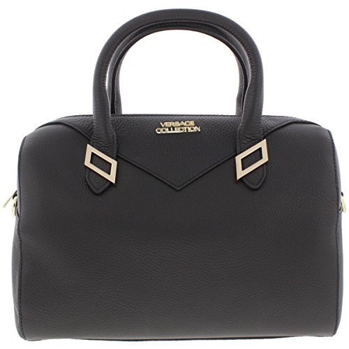 Versace Collection Womens Leather Pebbled Satchel Handbag Black - Versace Cheap For