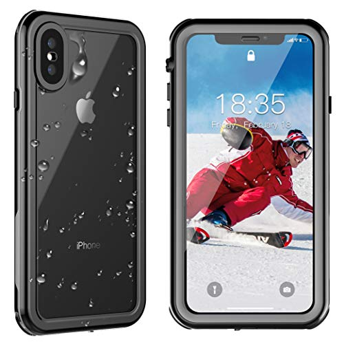 SPIDERCASE iPhone Xs Max Waterproof Case 6.5 inch 2018, Dustproof Snowproof Shockproof IP68 Certified, iPhone Xs Max Case with Built-in Protector Full Body Rugged Cover for iPhone Xs Max (Black)