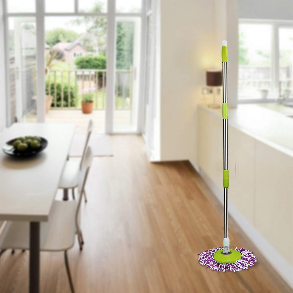 Jinjin 304 stainless steel Spin Mop Pole Handle Replacement for Floor Mop 360 No Foot Pedal Version green