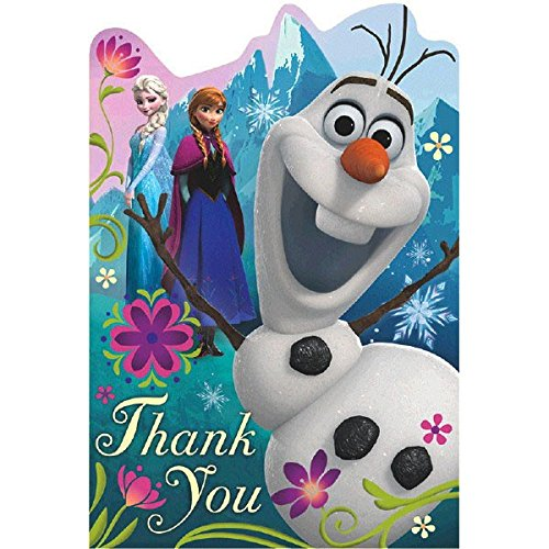 Disney Thank You Cards (Disney Frozen Birthday Party Thank You Cards Supply (8 Pack), Multi Color, 6 1/4
