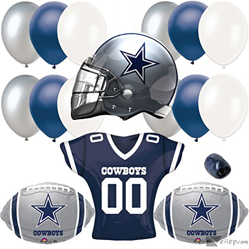Dallas Cowboys Helmet & Jersey 17pc Balloon Pack, Navy Silver White